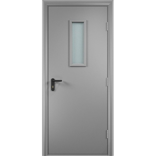 Строительная противопожарная дверь «ДПО» (серая, глухая)