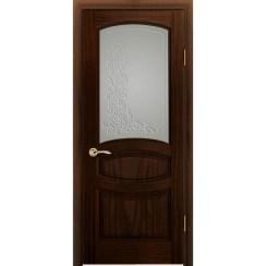 Дверь с натуральным шпоном «Изабелла Белая» (со стеклом)