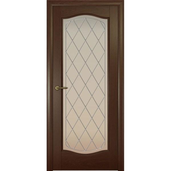 Дверь с натуральным шпоном «Аврора Ромб белый» (со стеклом)