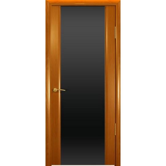 Межкомнатная шпонированная дверь «Шторм-3 Черный» (со стеклом)