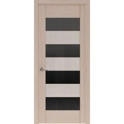 Межкомнатная шпонированная дверь «Rona-1 Черная» (со стеклом)