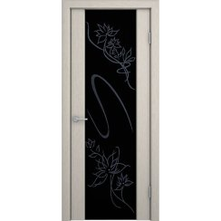 Шпонированная дверь Кристалл со стеклом триплекс, беленый дуб