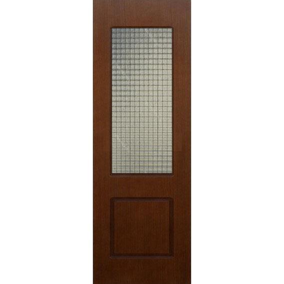 Строительная шпонированная дверь «Марсель» (темный орех, со стеклом)