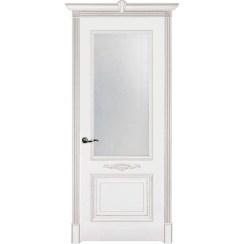 Межкомнатная дверь эмаль классика патина «Паула» (со стеклом)