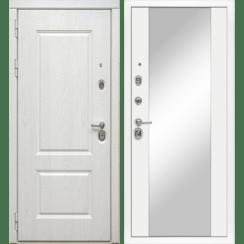 Входная металлическая дверь «МД-44» с зеркалом (белый софт)