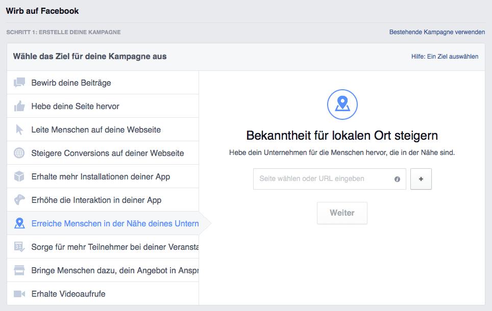 Facebook Werbeanzeige erstellen: Kampagnenziel auswählen