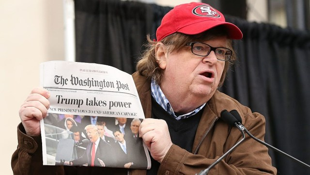 Michael Moore speaks at the rally at the Women's March on Washington on January 21, 2017 in Washington, DC.