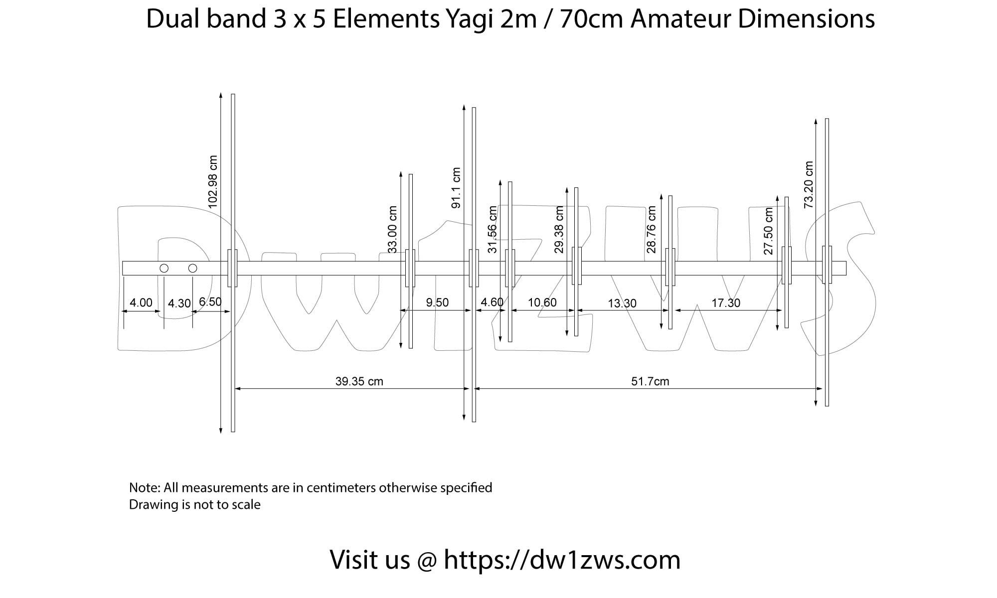 build the 3 x 5 elements 2m  70cm dualband yagi
