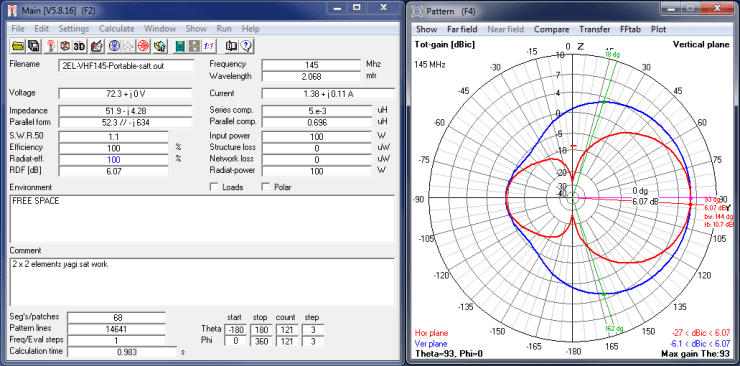 2x3 Cross Yagi VHF side