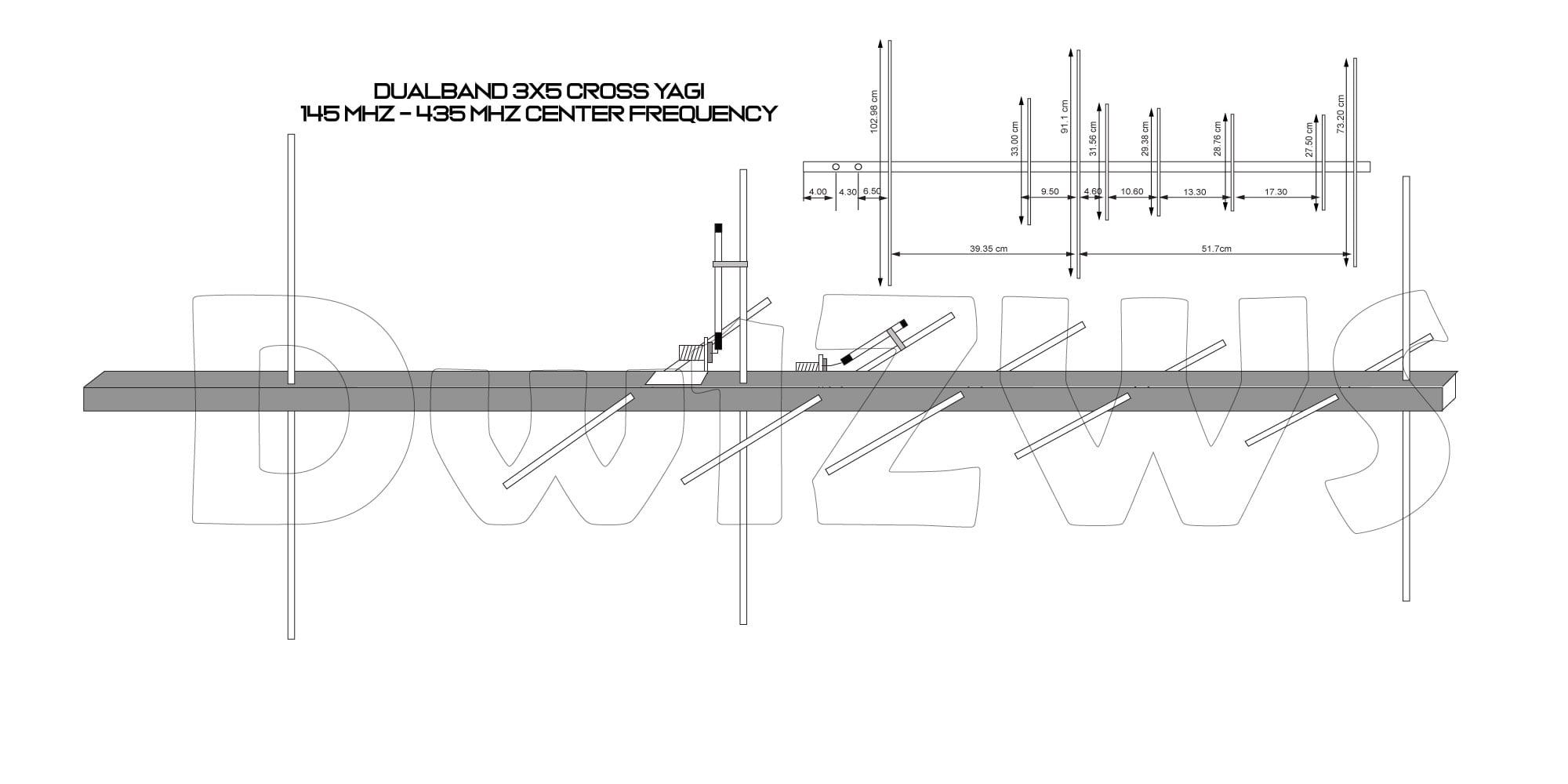 Dualband 3x5 Cross Yagi 145Mhz - 435Mhz mounting and