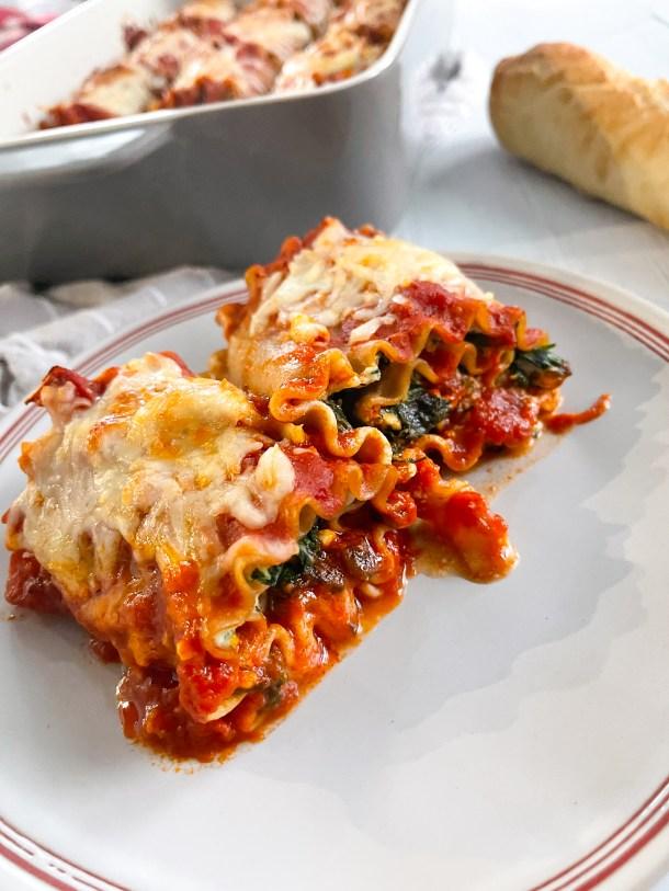Frozen spinach lasagna rolls Weight Watchers lasagna