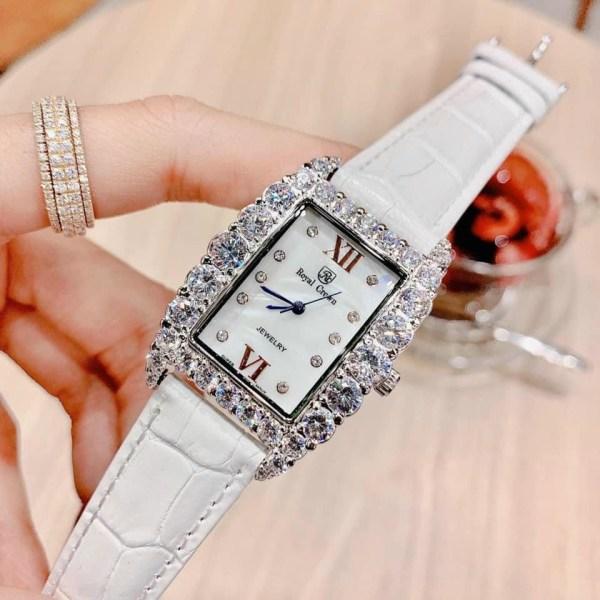 Đồng hồ Royal Crown nữ dây da màu trắng
