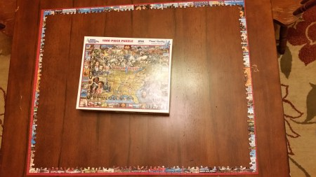 Civil War 1000 piece puzzle Brennon and I started tonight.