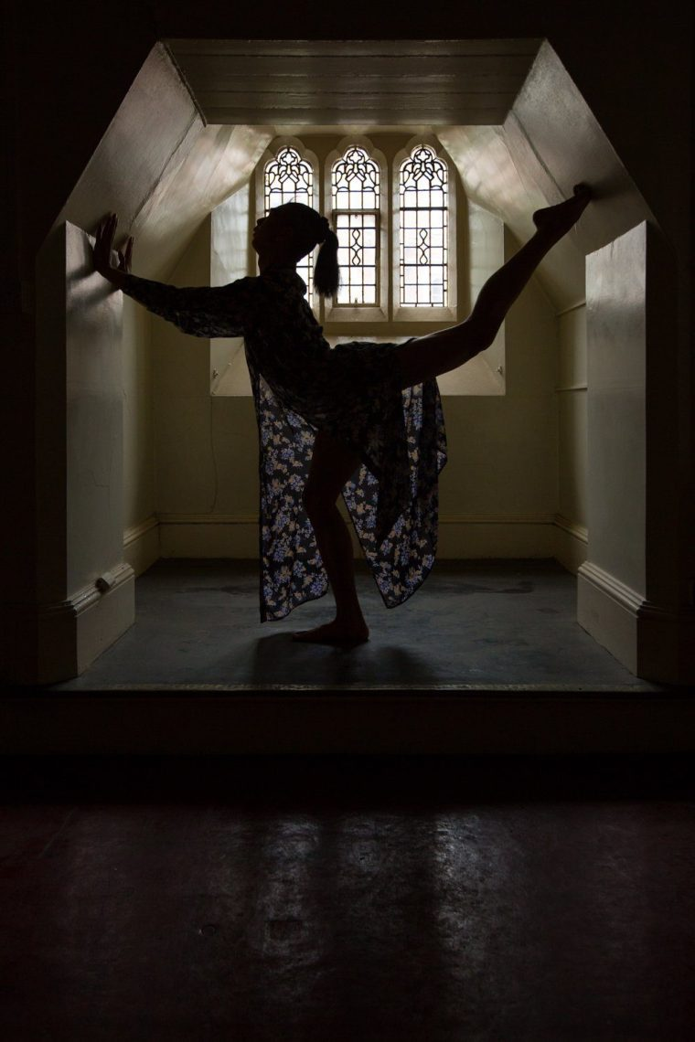 Silhouette of Mac Daniel Villanueva Palima dancing in Derby Theatre's Green Lane rehearsal rooms