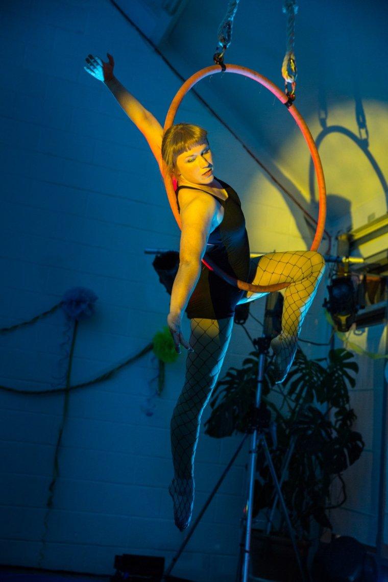Alyssa Watts on lyre at Circus Hub Nottingham first birthday