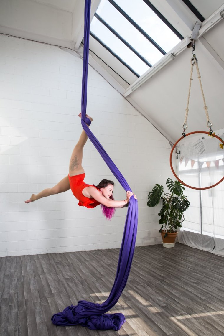Kay Monrose on Tissu at Circus Hub Nottingham