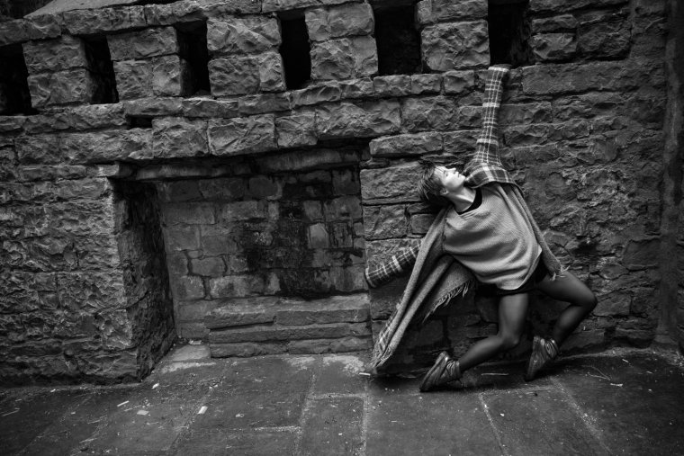 Aimee Lily Williamson striking a dramatic pose in Clitheroe Castle