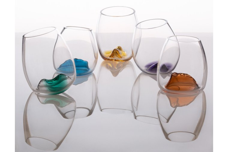 Delicately coloured glass bowls, made by Angie Packer Glass