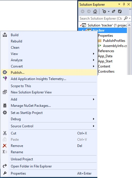Step 2 Right Click Project In Solution Explorer and select Publish