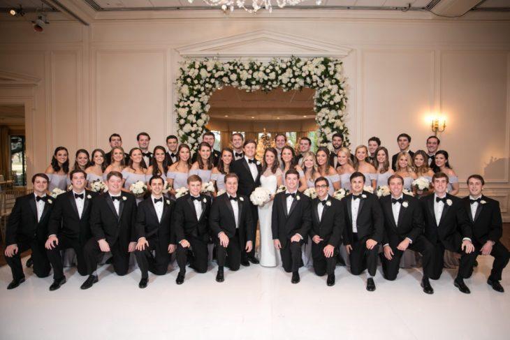 Sarah Brawner and Joseph White with wedding party