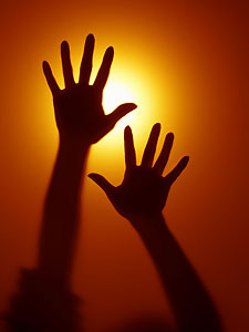 12. two hands, light