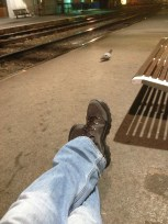 Just me and a pigeon waiting for the train to St. Jean.