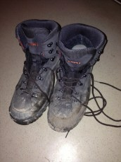 My boots on day 3 of the trail. Thank you Lowa!