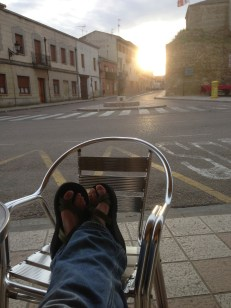 Sitting outside of Bar Espana at the end of a long day.