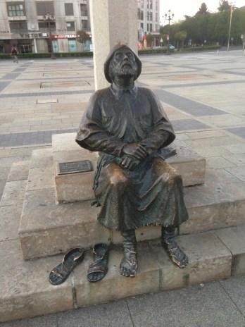 Pilgrim resting his feet.