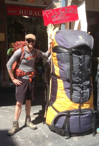 Me and the big backpack in front of the outdoor store in Astorga.