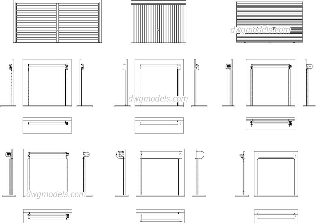 Automatic Garage Sectional Doors Autocad Blocks Cad Models