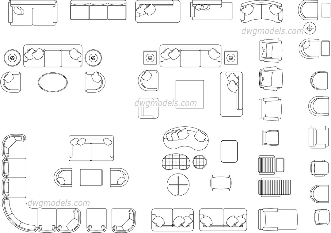 Living Room Furniture AutoCAD blocks, DWG blocks, CAD ...