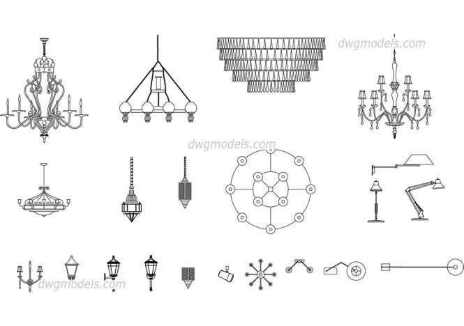 Lamps Chandeliers Cad Blocks Free