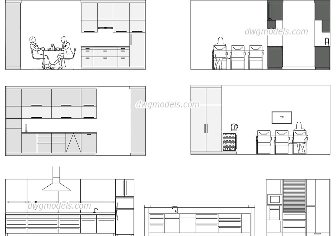 Modern Kitchen Elevation Cad Drawings 2d Autocad Models
