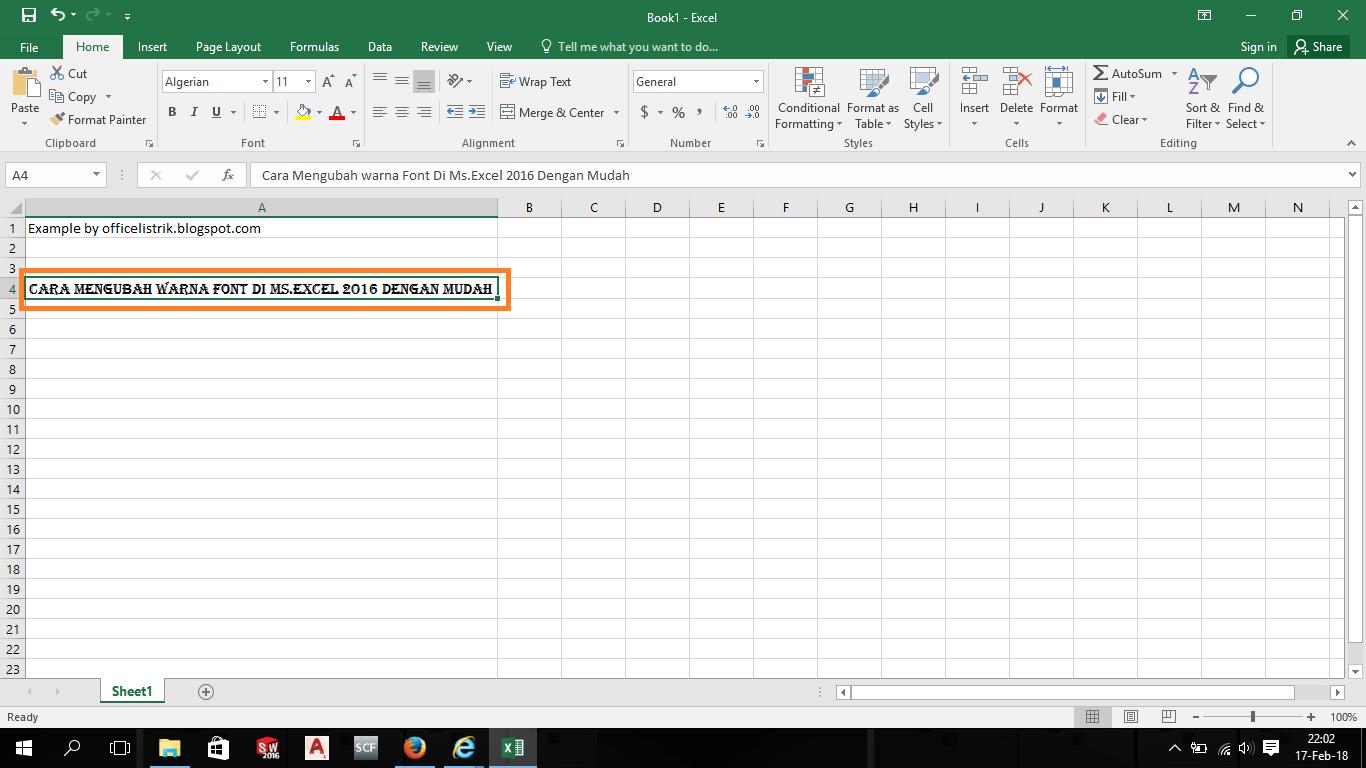 Cara Mengubah Warna Font Di Ms Excel Dengan Mudah