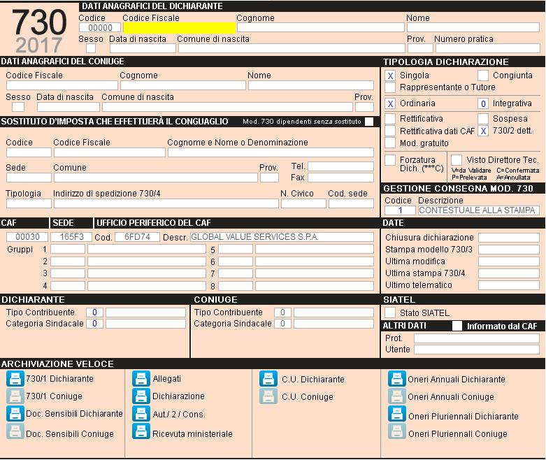Modello 730 2017 51 Quadro Impostazione