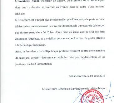 Garde à vue de Maixent Accrombessi Gabon Communiqué de la Présidence de la République - Gabon-France : Maixent Accrombessi Nkani est libre depuis hier soir