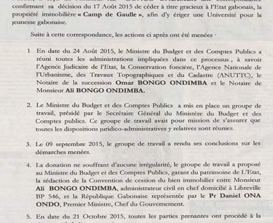 GABON : Officiel, Ali BONGO ONDIMBA  a cédé la propriété du camp de gaulle à L'Etat Gabonais