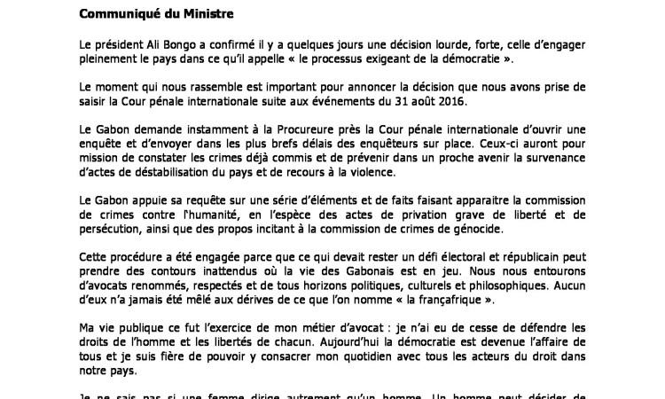 CP MINJUSTICE 220916 - Crise postélectorale : l'Etat gabonais saisit la Cour pénale internationale