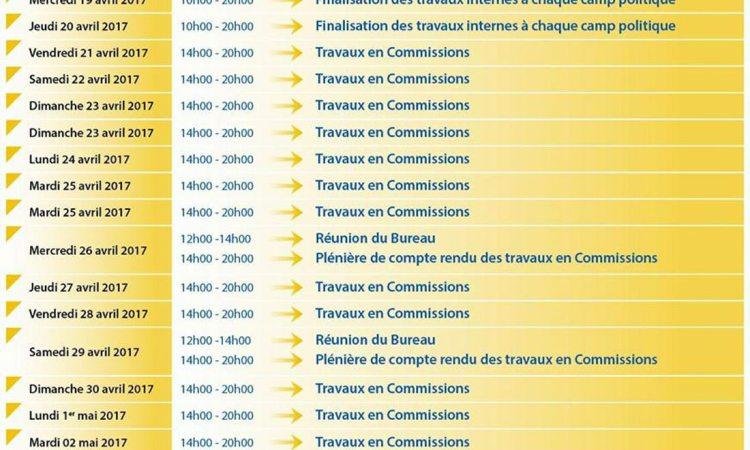 Agenda - Dialogue National-Phase Politique : liste des quatre commissions