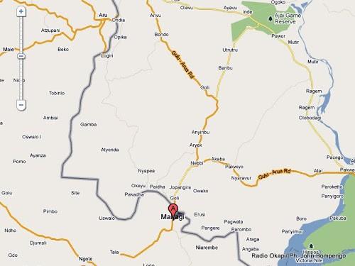 En point A, le territoire de Mahagi dans le district de l'Ituri en RDC, localisé sur Google Map.