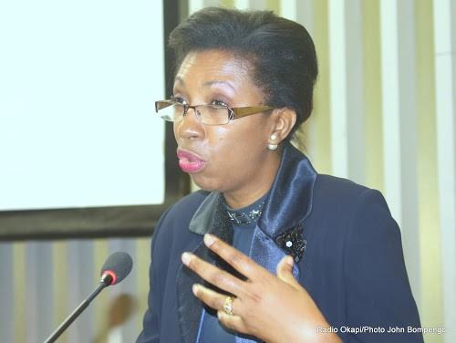 Jeannine Mabunda, Conseillère du Président Joseph Kabila pour la Lutte contre les violences sexuelles lors de l'ouverture d'une conférence sur l'évaluations des engagements en faveur de la réduction des violences sexuelles le 11/10/2016 à Kinshasa. Radio Okapi/Ph. John Bompengo.