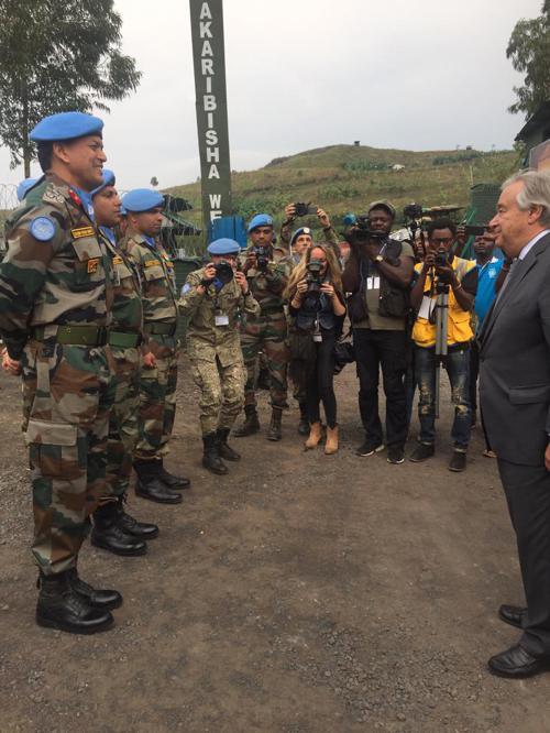 Visite du Secrétaire général des Nations unies, António Guterres, au centre de transit de Munigi, dans la banlieue de Goma (Nord-Kivu), samedi 31 août 2019. Photo MONUSCO/Amadou Ba