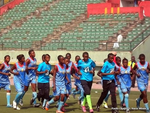 Séance d'entrainement des Léapards (U20) au stade Tata Raphael de Kinshasa. Radio okapi/Photo rNana Mbala