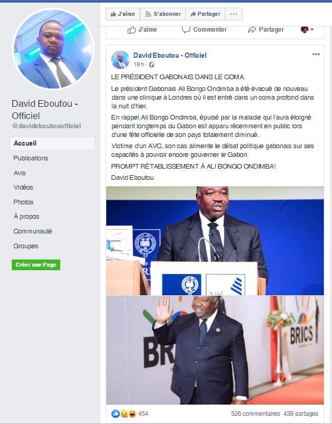 david eboutou2 - David EBOUTOU, le repris de justice qui a annoncé Ali BONGO dans le coma à Londres