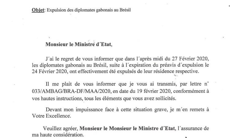 Gabon | Les diplomates Gabonais au Brésil, expulsés leur domicile et dans la rue depuis le 27 février 2020.