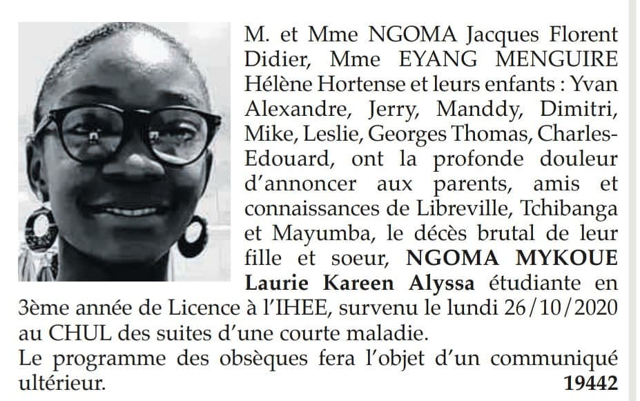 NGOMA MYKOUE LAURIE KAREEN ALYSSA n - Gabon   Nécrologie : Disparition de la jeune NGOMA MYKOUE LAURIE KAREEN ALYSSA