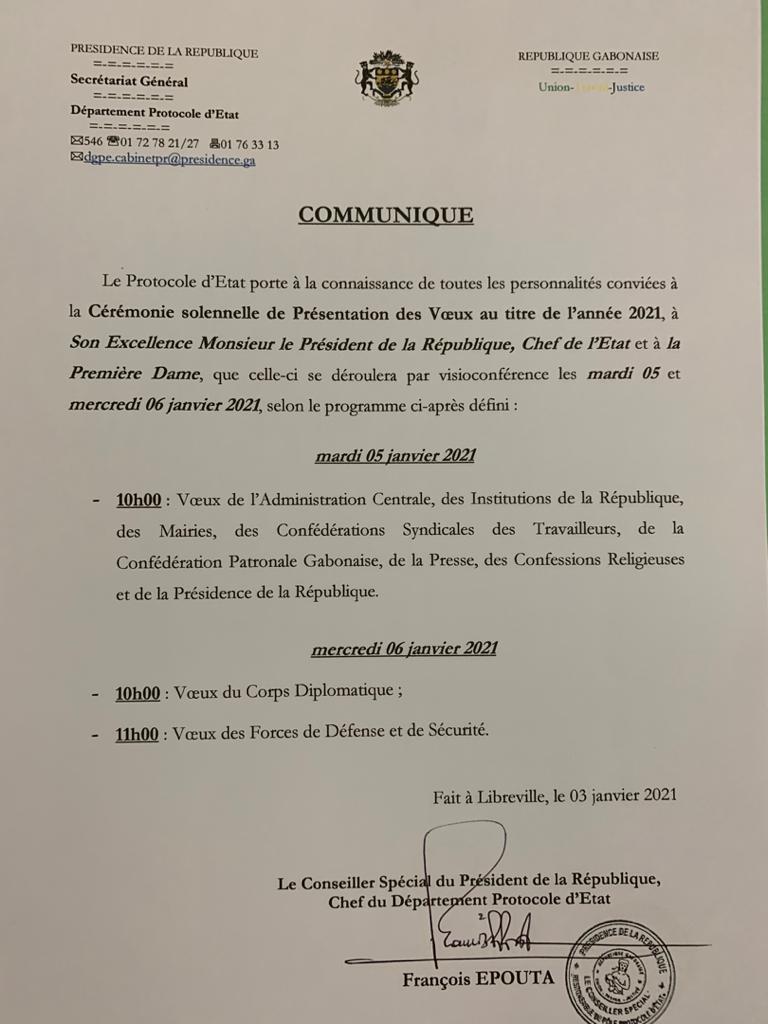 """WhatsApp Image 2021 01 03 at 17.10.24 - Gabon   Ali Bongo : les cérémonies de présentation des """" vœux 2021 """" se dérouleront par visio-conférence."""