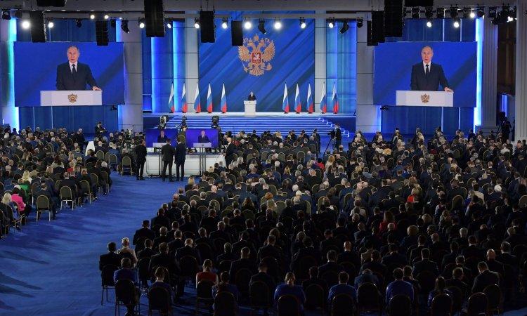 Russie, Kremlin : discours annuel de Vladimir Poutine à l'Assemblée fédérale