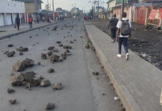 Manifestation près de Goma contre l'état de siège
